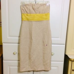 Tracy Reese Cream Yellow Bow Strapless Dress